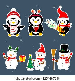 New Year and Christmas card. A set of stickers of three penguins and three characters of snowmen in different hats and poses in winter. Christmas trees, gifts, confetti. Cartoon style, vector.