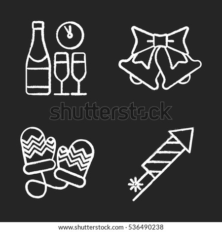 new year and christmas chalk icons set champagne bottle and glasses jingle bells