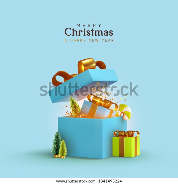 New Year and Christmas design. Realistic blue gifts boxes. Open gift box full of decorative festive object. Holiday banner, web poster, flyer, stylish brochure, greeting card, cover. Xmas background