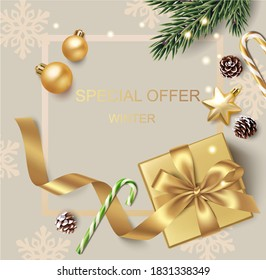New Year and Christmas design template. Winter background with decorative golden balls, stars and gift box. - Shutterstock ID 1831338349