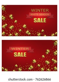 New Year Christmas. Flyer, business cards, postcards. invitations to the winter sale. Brilliant golden stars. A ribbon with an inscription. vector illustration