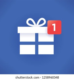 New Year or Christmas gift icon with new symbol number. Idea - Winter holidays presents symbols in social networking design style. Concept of holiday online shopping, celebration and congratulations