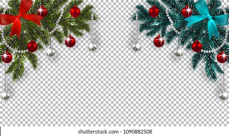 New Year. Christmas. A green and blue branch of a Christmas tree with toys with a shadow. Corner drawing. Blue and red bow, silver and red balls on a checkered background. Vector illustration