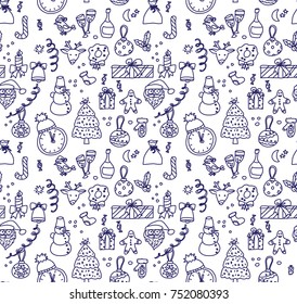 New year Christmas objects monochrome ink seamless pattern. Vector illustration. EPS8