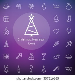 new year, christmas outline, thin, flat, digital icon set for web and mobile