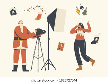New Year and Christmas Photo Session Concept. Cheerful Female Character in Festive Mask Posing on Camera with Photographer in Santa Claus Costume and Lighting Lamp. Linear People Vector Illustration