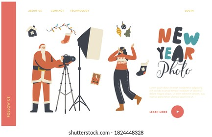 New Year and Christmas Photo Session Landing Page Template. Cheerful Female Character in Festive Mask Posing on Camera with Photographer in Santa Claus Costume. Linear People Vector Illustration
