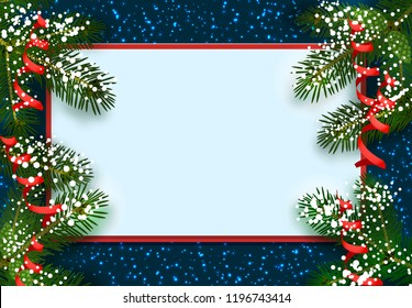 New Year. Christmas. Postcard, card. Green spruce branches in the snow from two sides. Place for advertising and announcements. Isolated vector illustration