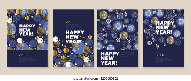 new year and christmas posters collection gold and blue xmas laconic illustration for winter design