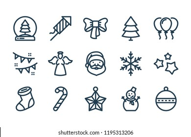 New year and Christmas related line icon set. Xmas celebration linear icons. New year theme outline signs. Merry Christmas vector line icons.
