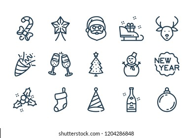 New Year and Christmas related line icon set. Vector linear winter icons.