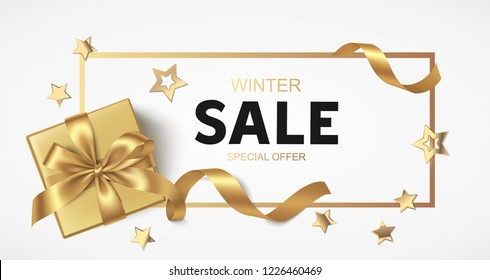 New Year or Christmas Sale design template. Vector illustration. Winter background with decorative gift box and golden stars