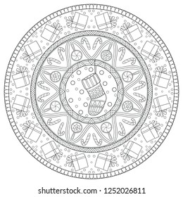 New year and Christmas theme. Black and white graphic doodle hand drawn sketch mandala for adult, kids coloring book. Gifts, socks, garlands, ethnic patterns.