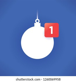 New Year or Christmas tree ball icon with new symbol number. Idea - Winter holidays presents symbols in social networking design style. Concept of online shopping, celebration and congratulations