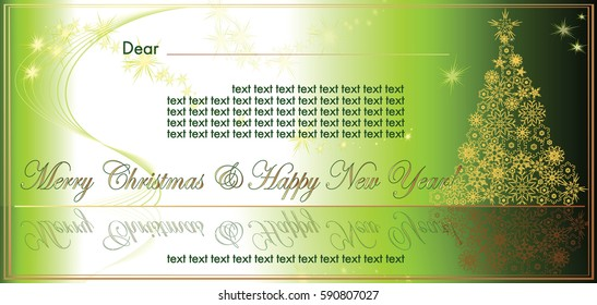 New Year and Christmas vector card with NY tree from gold snowflakes on green gradient background