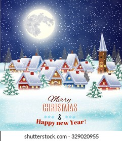 New year and Christmas winter village  night landscape background. Vector illustration. concept for greeting or postal card
