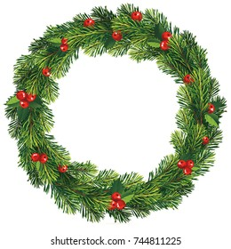 New year and Christmas wreath. Traditional winter garland with red holly berries on evergreen green branches, isolated on white background. Greeting card. Happy xmas vector retro holiday design