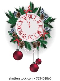 New Year clock, decorated with balls, twigs and beads on the background of a wooden texture of the boards