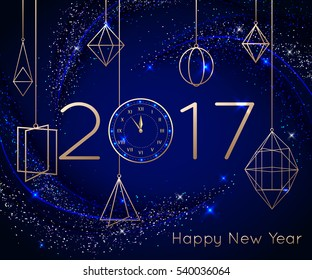 New Year clock on blue background. Vector illustration