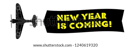 new year is coming banner with old army warfighter