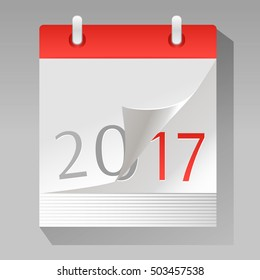New Year is coming. Vector illustration of a paper calendar with a page turning to 2017 year. Flat design