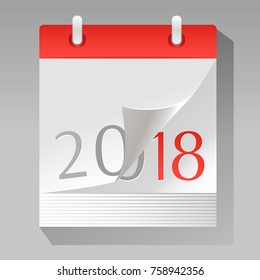New Year is coming. Vector illustration of a paper calendar with a page turning to 2018 year. Flat design. Icon design