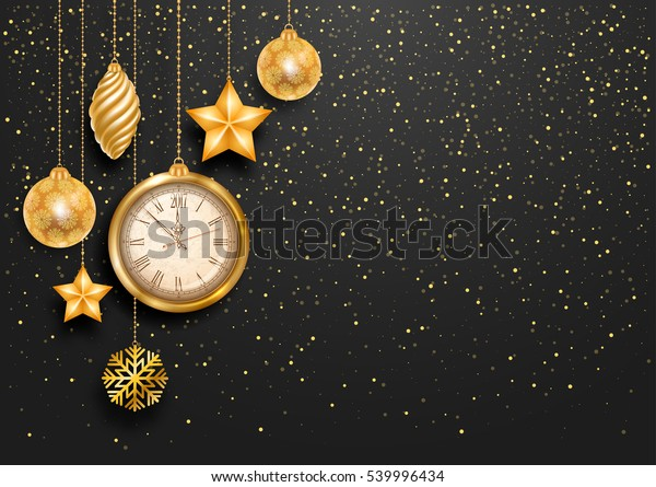 New Year is coming. Vintage golden clock with 2017 digits and christmas decorations. Golden glitters on background. Luxury vector design.
