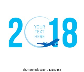 New Year concept - airplane left a trace in the form of zero in 2018. Flat vector clip art. Greeting card or poster template - plain write digits in the sky. With place for text. Celebration logo.