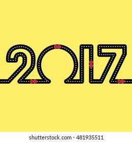 New Year Concept - road in the form of figures 2017. With red toy sport cars on it. Simple vector clip art.