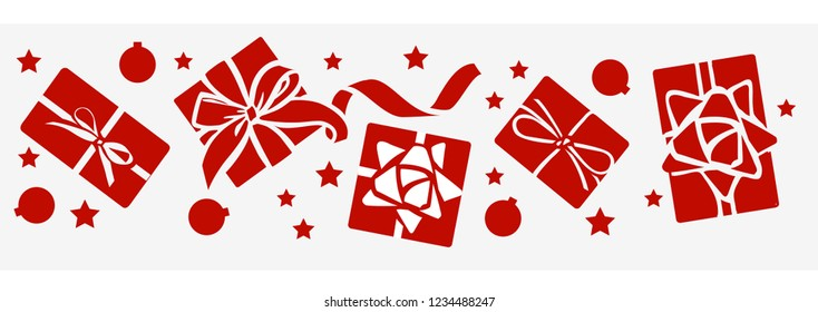New Year decorative gift box, Christmas ball silhouette on gray background. Vector illustration