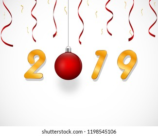 New Year design with bright red christmas tree ball and ribbons, confettis, golden 2019 text, on white gray gradient background. Vector eps 10.