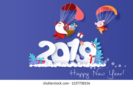 New Year design card. Santa Claus and funny pig Flying with Parachute over big letters 2019 on blue background. Vector paper art illustration for promotion banners, headers, posters, stickers