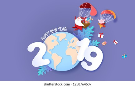 New Year design card. Santa Claus and funny pig Flying with Parachute over globe Earth on blue background. Vector paper art illustration for promotion banners, headers, posters, stickers