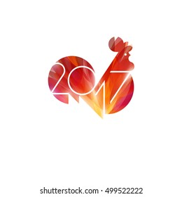 New Year design with silhouette of red fire rooster. Modern minimalistic vector illustration of cock as symbol of 2017 year on Chinese calendar