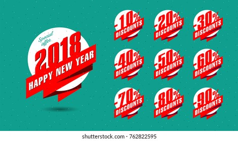 NEW YEAR discount banner with percentage set, special offer collection of tags with discounts for new year offers