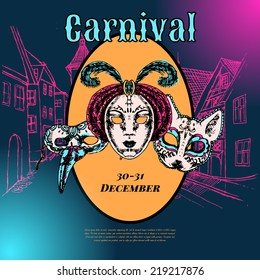 New year eve carnival event show advertising poster with venetian style paper mache masks color vector illustration