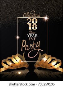 New year eve celebration invitation card with gold realistic ribbons and frame. Vector illustration