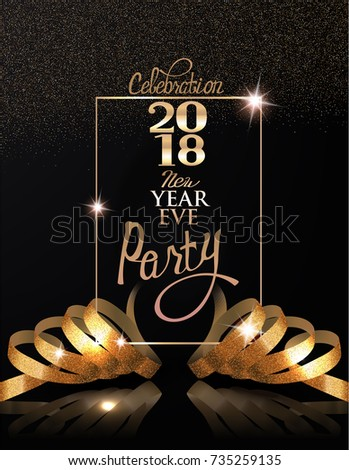 new year eve celebration invitation card with gold realistic ribbons and frame vector illustration