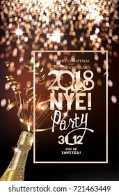 New year eve party invitation card with defocused lights on the background, bottle of champagne and serpentine. Vector illustration