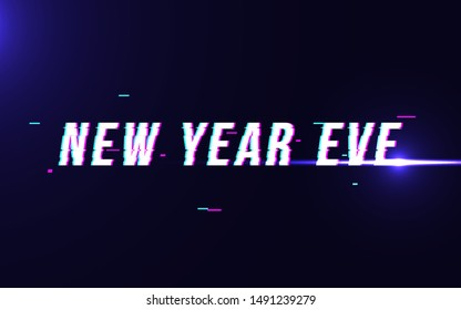 new year eve typography in distorted glitch style. vector illustration.