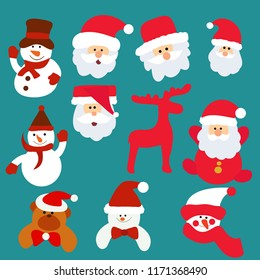 new year, the face of Santa Claus, set