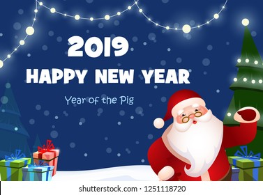 New Year festive poster design. Cartoon Santa Claus, Christmas tree, gifts and fairy lights on dark blue background. Illustration can be used for banners, flyers, greeting cards