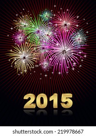 new year fireworks 2015 holiday background design