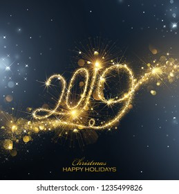 New Year Fireworks 2019 Bright Background with Flickering Lights Effect. Vector illustration