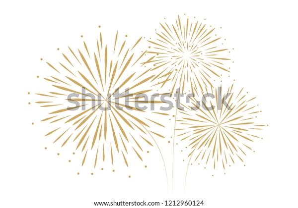 new year fireworks decoration isolated on white background vector illustration EPS10