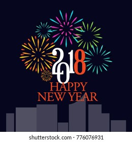 New year fireworks vector background