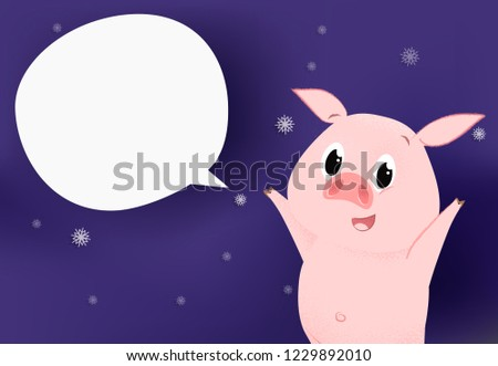 new year flyer template design happy pig on purple background with snowflakes speech bubble