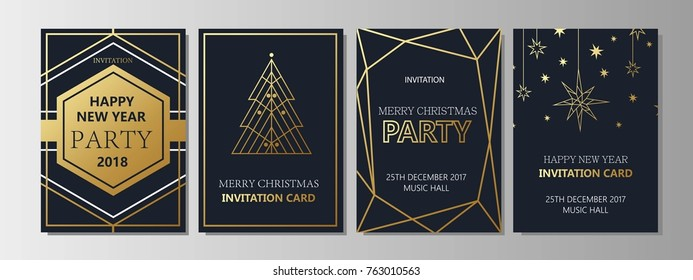 New year fnd Merry Christmas party  gold invitation. Geometric art deco style design with holiday tree. Greeting card, flyer, poster.