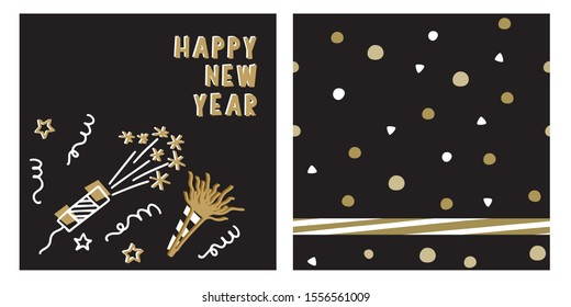 New year gift bag, tag, sticker label design set with confetti cannons, noisemakers and stars clipart. Seamless pattern with circles and diagonal stripe border for wrapping paper.