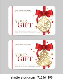 New Year gift card. Christmas coupon. Gift certificate with New Year's attributes. Red bow with a golden ball and a Christmas tree on a white background.